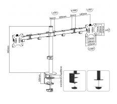 FIBER Mounts SDM754 - kancelářský držák na 2 LCD monitory SDM754