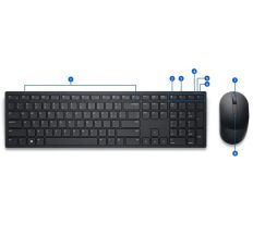 Dell KM5221W Pro Wireless Keyboard and Mouse SK 580-AJRO KM5221WBKB-CSK